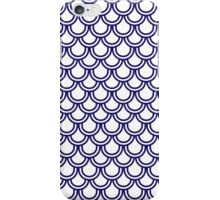 Girly Modern Blue White Retro Scallop Pattern iPhone Case/Skin