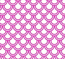 Girly Pink Modern Retro Scallop Pattern  by Maria Fernandes