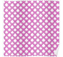 Girly Pink Modern Retro Scallop Pattern  Poster