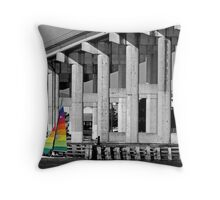 Sailboat passes bridge  Throw Pillow