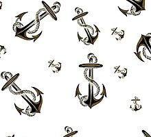 Cool Trendy Black Gold Glitter Nautical Anchor by Maria Fernandes