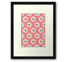 Daisies & Peaches - Daisy Pattern on Pink Framed Print
