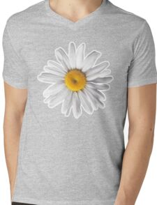 Daisies & Peaches - Daisy Pattern on Pink Mens V-Neck T-Shirt