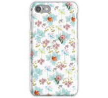 Summer Pink Teal Watercolor Tropical Flowers iPhone Case/Skin