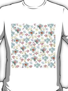 Summer Pink Teal Watercolor Tropical Flowers T-Shirt