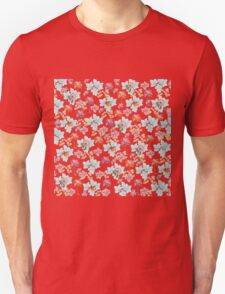 Summer Pink Teal Watercolor Tropical Flowers Unisex T-Shirt
