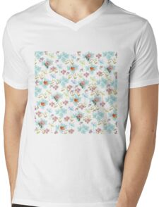 Summer Pink Teal Watercolor Tropical Flowers Mens V-Neck T-Shirt