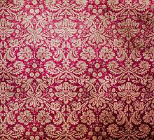 Vintage Red Cream Grunge Floral Damask Pattern by Maria Fernandes