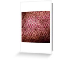 Vintage Red Cream Grunge Floral Damask Pattern Greeting Card