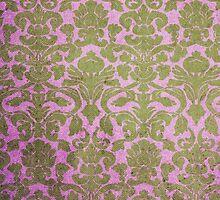 Vintage Pink Brown Grunge Floral Damask Pattern by Maria Fernandes