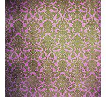 Vintage Pink Brown Grunge Floral Damask Pattern Photographic Print