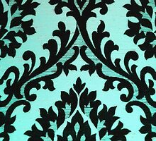 Chic Modern Black Teal Floral Damask Pattern  by Maria Fernandes