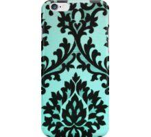 Chic Modern Black Teal Floral Damask Pattern  iPhone Case/Skin