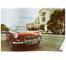 Red convertible MG Poster