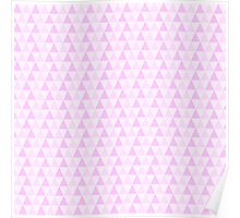 Girly Pink White Trendy Triangles Pattern Poster