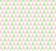 Girly Pink Green SymmetricTriangles Pattern by Maria Fernandes