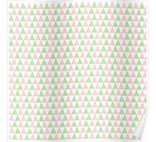 Girly Pink Green SymmetricTriangles Pattern Poster