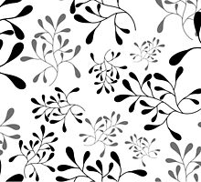 Black Leaf Pattern on White by Anaa