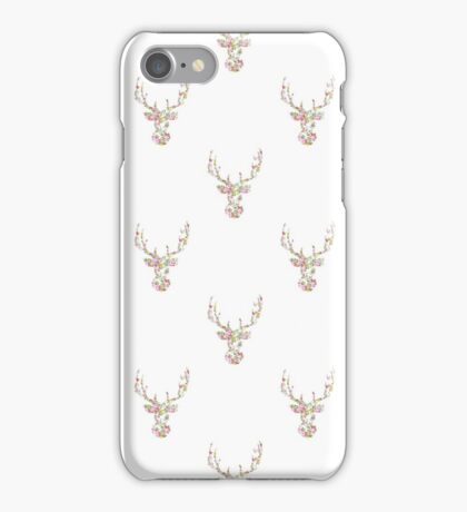 Modern Pink White Vintage Floral Deer Head  iPhone Case/Skin