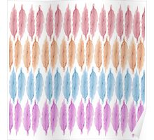 Girly Pink Hand Drawn Watercolor Feathers Pattern Poster