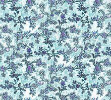 Vintage Purple Teal Watercolor Floral Pattern by Maria Fernandes