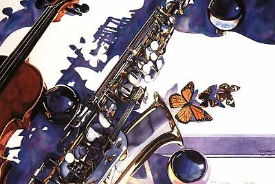 """Symphonic Manifestation"" Musical Instruments Watercolor by Paul Jackson"