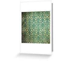 Vintage Green White Floral Damask Pattern Greeting Card