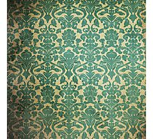 Vintage Green White Floral Damask Pattern Photographic Print