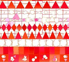 Abstract Red Pink Aztec Chevron Tribal Pattern by Maria Fernandes