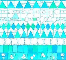 Abstract Teal Aqua Aztec Chevron Tribal Pattern by Maria Fernandes