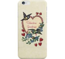 Vintage Birds Red Hearts Floral Love Valentines iPhone Case/Skin