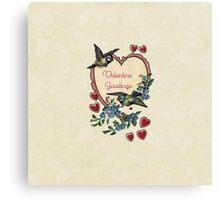 Vintage Birds Red Hearts Floral Love Valentines Canvas Print