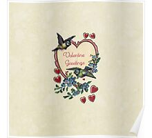 Vintage Birds Red Hearts Floral Love Valentines Poster
