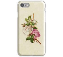 Chic Girly Pink White Vintage Rose Painting  iPhone Case/Skin