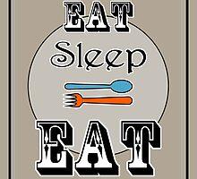 Eat Sleep Eat - Kitchen Art by Katherine Mariaca-Sullivan