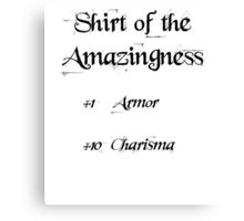 Shirt of the amazingness Canvas Print