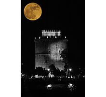 Full moon over the White Tower, Thessaloniki, Makedonia, Greece Photographic Print