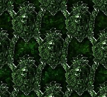 Green Man Medieval water Spout Pattern by bloomingvine
