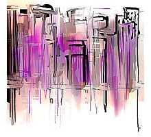 City in Pink and Purples with Grays Photographic Print