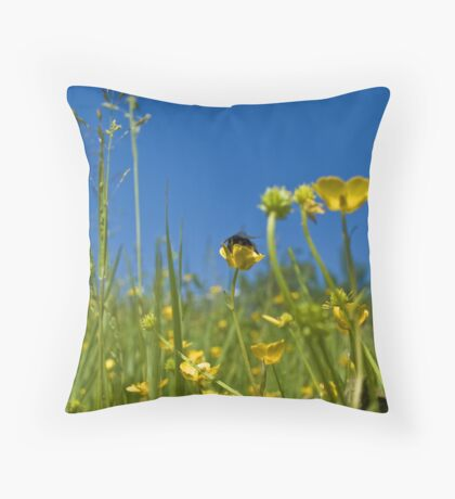 Buttercups and a bee Throw Pillow