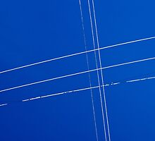 Texture blue sky and white wires by luckypixel