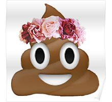 flower crown poop emoji hipster tumblr Poster
