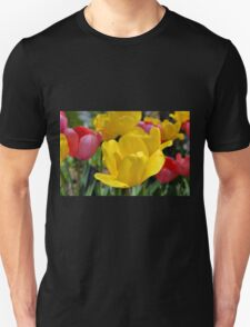Pink and Yellow Garden Tulips T-Shirt