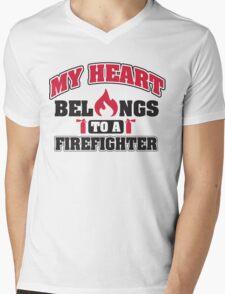 My heart belongs to a firefighter Mens V-Neck T-Shirt