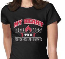My heart belongs to a firefighter Womens Fitted T-Shirt