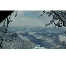 Snow falls on The Smokys Photographic Print