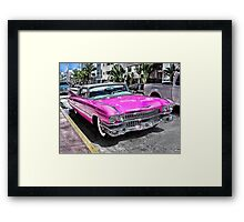 Pink Cadillac - Collins Ave - Miami Framed Print