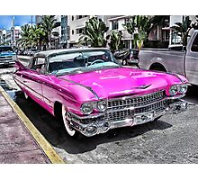 Pink Cadillac - Collins Ave - Miami Photographic Print