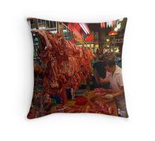 Chinese butcher shop, Temple Street, Hong Kong Throw Pillow