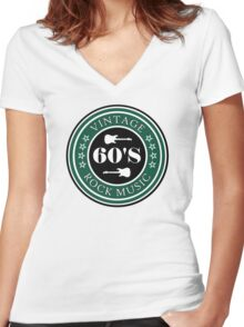 Vintage 60's Rock Music Women's Fitted V-Neck T-Shirt